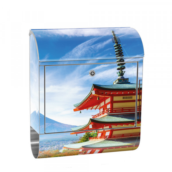 Stainless Steel Letterbox with Newspaper roll & Motif Japan Tokyo sky | No. 0261