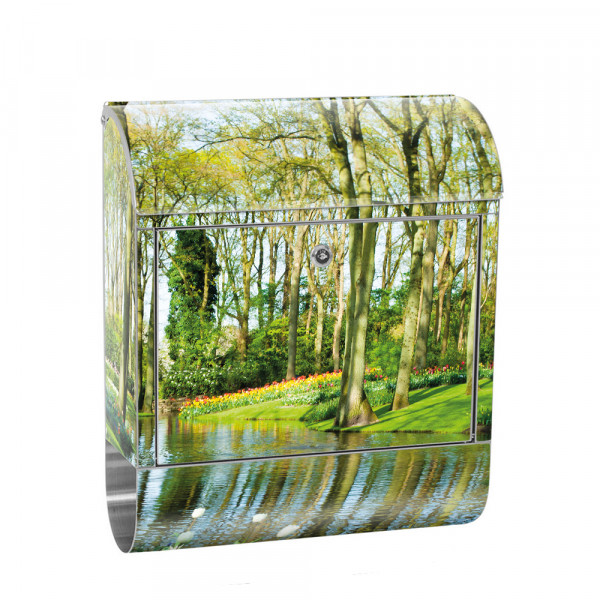 Stainless Steel Letterbox with Newspaper roll & Motif Forest spring Water | No. 0256