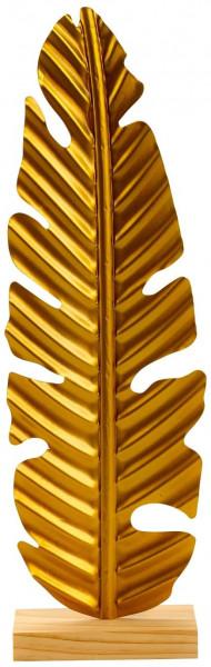 Moderne Skulptur Dekofigur Goldenes Blatt aus Metall und auf Holz Sockel 16x53 cm