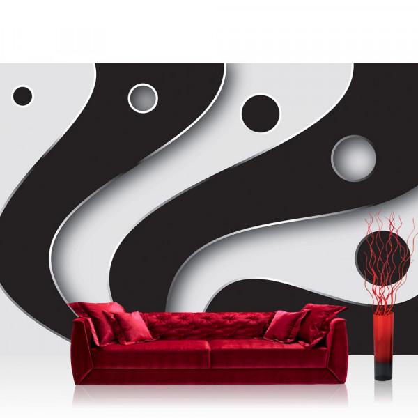 Vlies Fototapete 3D Tapete Abstrakt Streifen Kreise Fächer Design Kunst Muster 3D schwarz - weiß