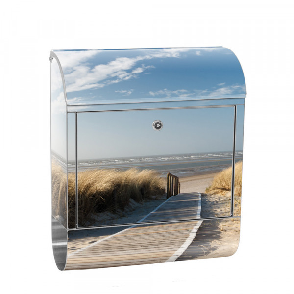 Stainless Steel Letterbox with Newspaper roll & Motif North Sea beach summer | No. 0038