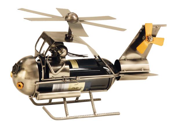 Moderner Wein Flaschenhalter Flaschenständer Hubschrauber aus Metall in silber Höhe 22 cm