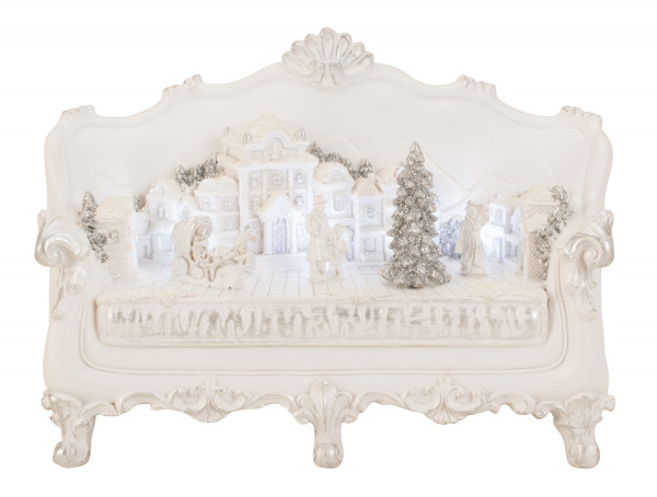 Modern winter landscape on a sofa with ceramic LED in white Height 15 cm Width 22 cm