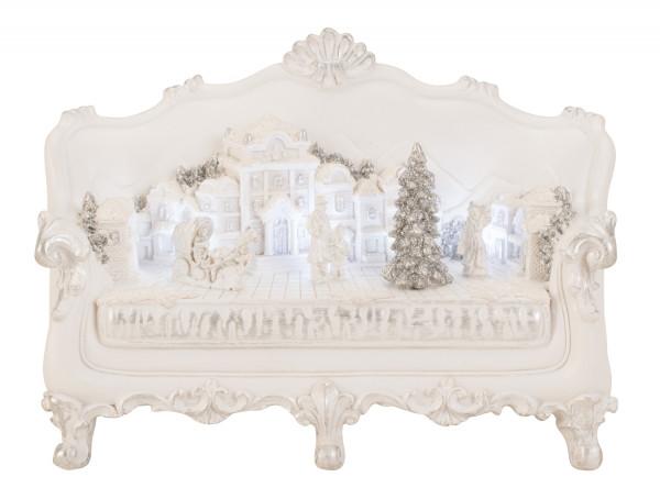 Moderne Winterlandschaft auf einem Sofa mit LED aus Keramik in weiss Höhe 15 cm Breite 22 cm