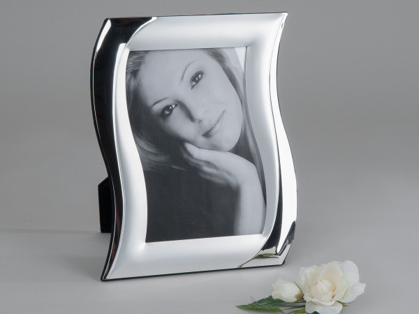 Modern photo frame silver aluminum S-shaped 10x15 cm
