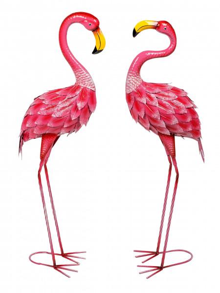 Moderne Gartenskulptur Gartenfigur Flamingo aus Metall rosa stehend Höhe 90 cm