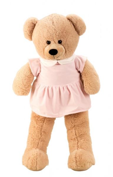 Giant Teddy Bear Cuddly bear XXL 100 cm large Plush bear velvety soft with pink dress- to the love