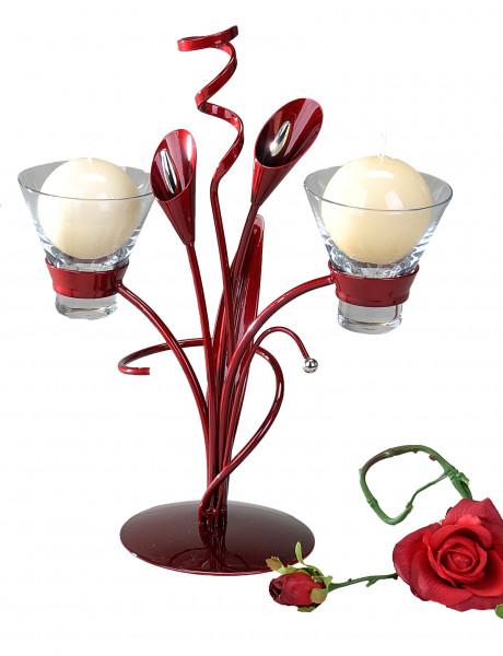Moderner Kerzenständer Kerzen halter aus Metall Aida-bordeaux Höhe 32 cm