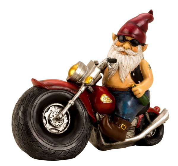 Cool dwarf on a motorcycle made of ceramics multi-colored Height 28 cm Width 35 cm