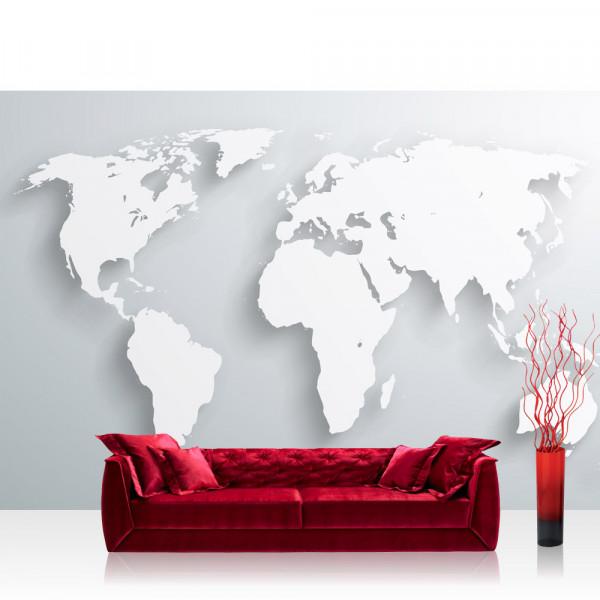 Vlies Fototapete Welt Tapete Weltkarte Atlas Kontinente 3D Optik braun