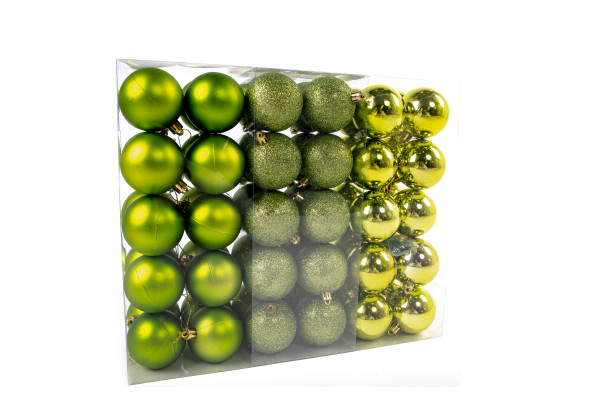 Large Christmas balls set 61 pieces Ø 6 cm Green including star lace Christmas tree decorations