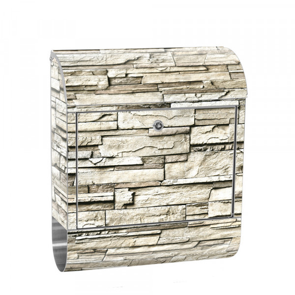 Stainless Steel Letterbox with Newspaper roll & Motif stone wall Stone Optics | No. 0134