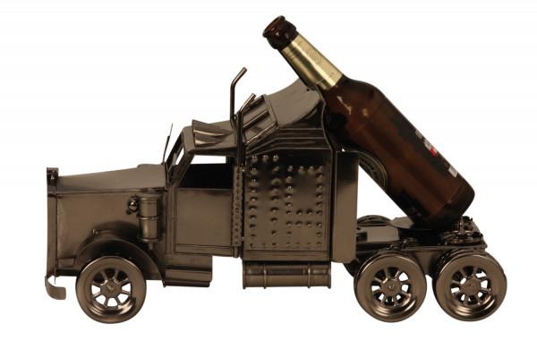 Extravaganter Bier Flaschenhalter Flaschenständer Amerikanischer Truck aus Metall in silber Länge 39
