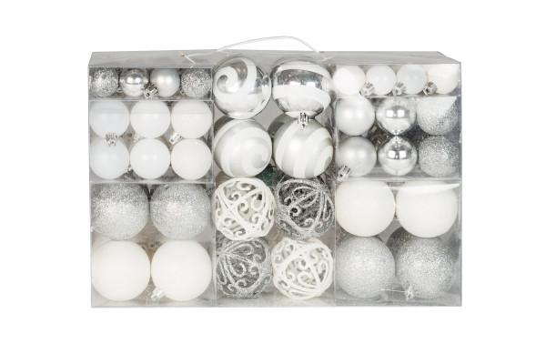 100 Weihnachtskugeln 2 farbig weiß und silber passend mit Haken glänzend glitzernd matt bis Ø 6 cm