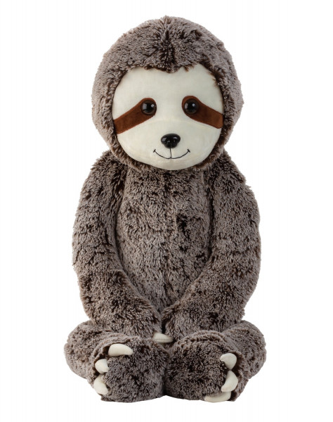 Large sloth cuddly toy Plush toy with velcro on hands gray / brown 100 cm tall and velvety white