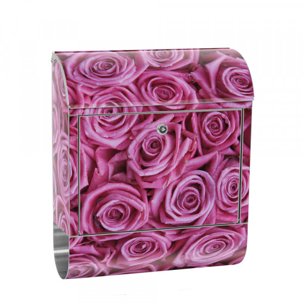 Stainless Steel Letterbox with Newspaper roll & Motif Flowers rose blossom Purple | No. 0183