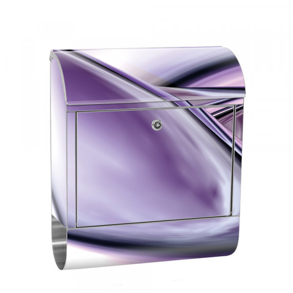 Stainless Steel Letterbox with Newspaper roll & Motif Digital Art Abstract | No. 0009