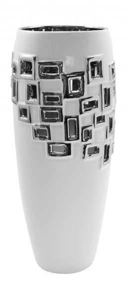 Modern deco vase flower vase 'Torino' ceramic white / silver height 34 cm
