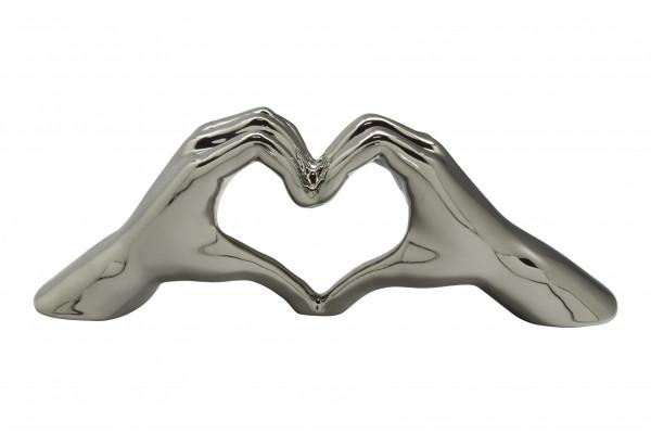 Moderne Skulptur Dekofigur Hand Heart XL aus Keramik Silber 45x15 cm