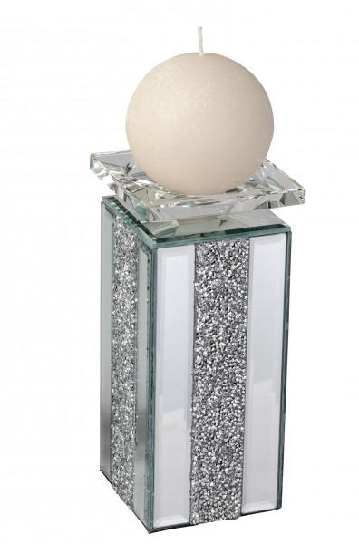 Moderner Kerzenhalter Kerzenständer mit Kristallen in elegantem Design und geschliffenem Glas 9x20 c