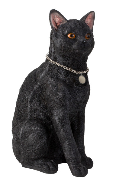 Large sculpture deco figurine cat made of artificial stone black with silver pendant 25x40 cm
