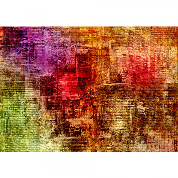 Vlies Fototapete Grunge abstract Newspaper Kunst Tapete Zeitungsausschnitte alt abstrakt bunt