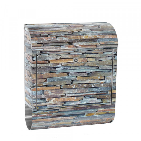 Stainless Steel Letterbox with Newspaper roll & Motif stone Stone Optic Wall | No. 0160