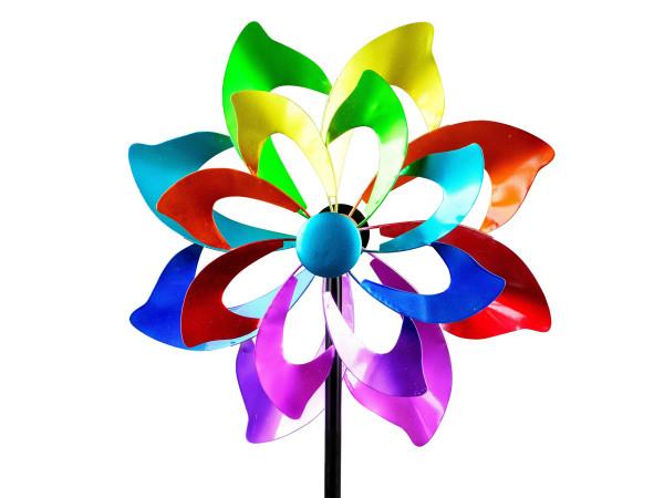 Windrad Windspiel Blume als Gartenstecker aus Metall blau, grün, lila und rot Länge 166 cm