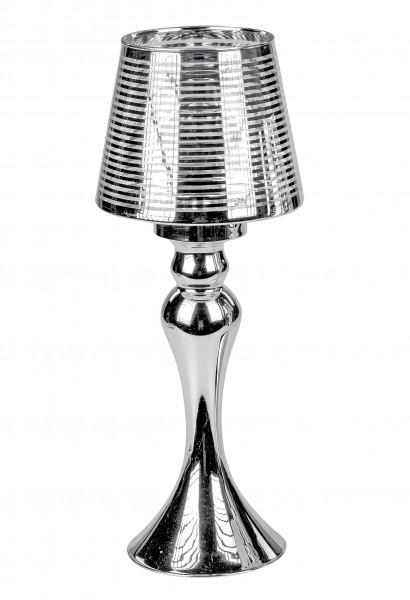 Windlichthalter Kerzenhalter Windlicht in elegantem Design in Form einer Lampe aus glänzendem Chrom