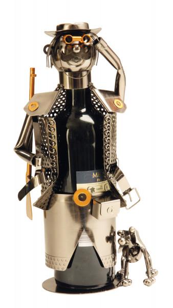 Moderner Wein Flaschenhalter Jäger aus Metall Höhe 32 cm
