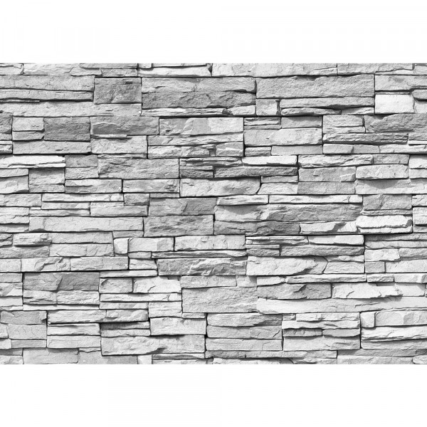Vlies Fototapete Asian Stone Wall - grau - anreihbar Steinwand Tapete Steinoptik Stein Steine Wand