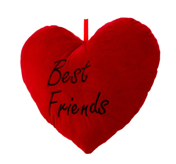 Cuddly soft heart pillow with inscription Best Friends Height 25 cm Width 33 cm