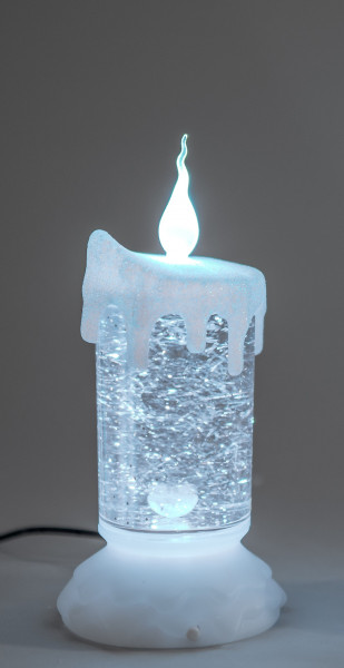 Illuminated LED candle in white acrylic filled with water height 19 cm