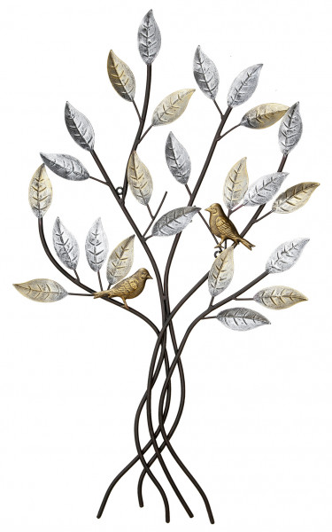 Modern wall decoration wall sculpture relief tree with birds brown metal 77x50 cm