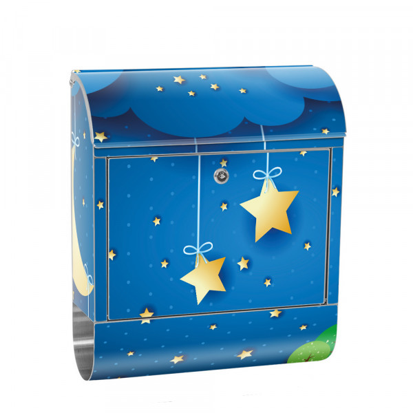 Stainless Steel Letterbox with Newspaper roll & Motif Starry Sky children | No. 0120