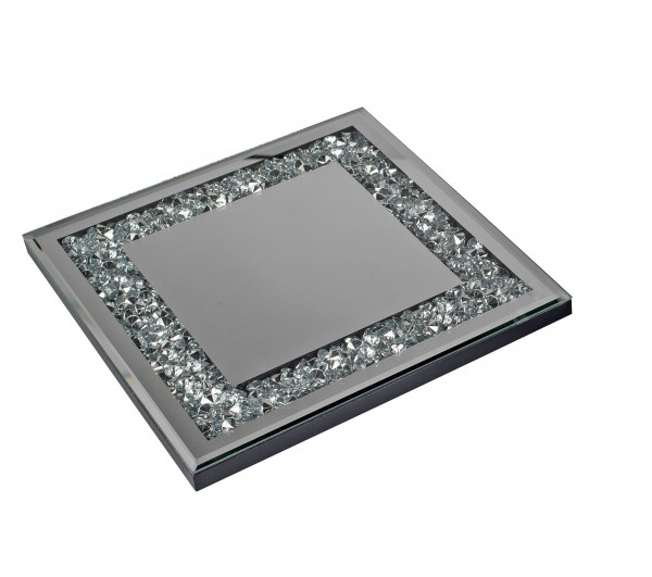 Beautiful Coaster pot Coaster made of Wood and Mirror Glass Silver 25x25 cm