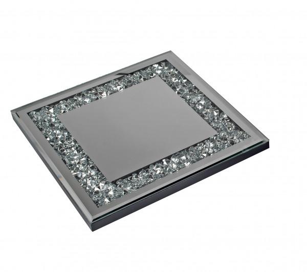 Wunderschöner Untersetzer Topfuntersetzer aus Holz und Spiegel Glas silber 25x25 cm
