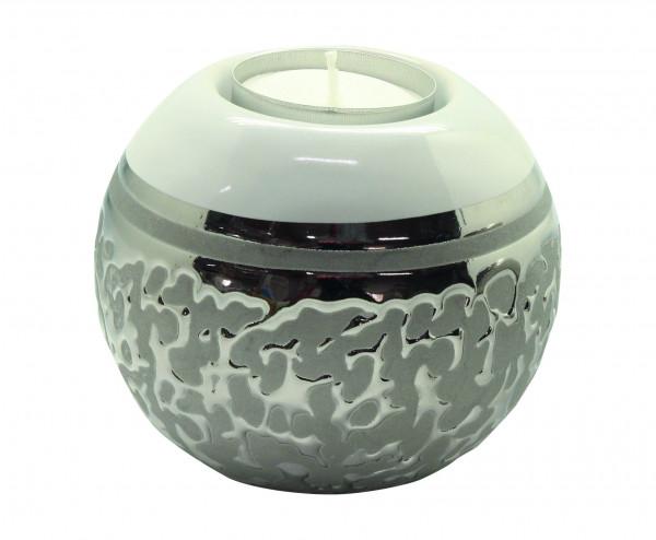 Moderner Teelichthalter Teelichtleuchte Windlicht aus Keramik weiß/silber Durchmesser 8 cm