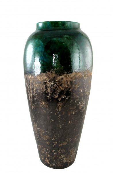 Moderne Deko Vase Blumenvase Bodenvase aus Keramik türkis grün und braun Höhe 60 cm