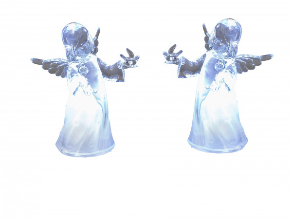 Beautiful angel sculptures illuminated 2 pieces Christmas Christmas decoration made of acrylic heigh