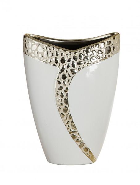 Moderne Deko Vase Blumenvase Tischvase aus Keramik weiß champagner 19x25 cm