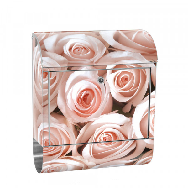 Stainless Steel Letterbox with Newspaper roll & Motif Flowers rose Blossom Pink | No. 0185