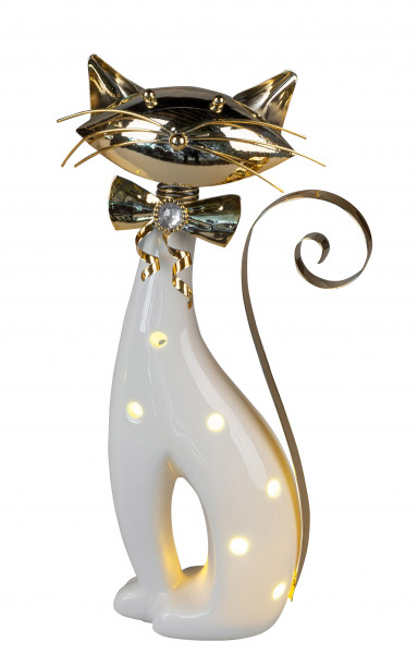 Modern sculpture decorative figure cat sitting including LED lighting made of ceramic / metal white / gold height 30 cm * 1 piece *