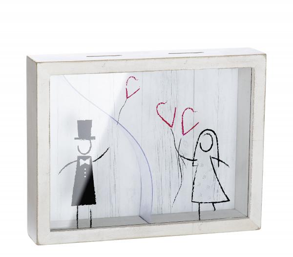 Lustige Spardose Hochzeit Sparbüchse Hochzeitskasse aus Holz/Glas 22x17 cm