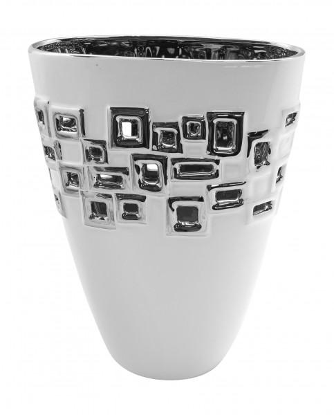Moderne Deko Vase Blumenvase Tischvase 'Torino' aus Keramik weiß/silber Höhe 28 cm