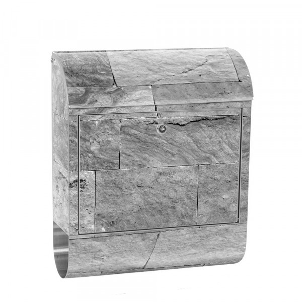 Stainless Steel Letterbox with Newspaper roll & Motif Sandstone stone Dark | No. 4303