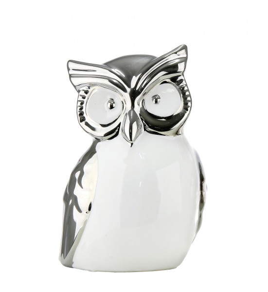 Modern sculpture decoration figurine owl ceramic white and silver height 14 cm width 11 cm