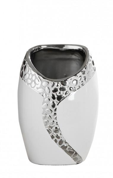 Modern deco vase flower vase table vase 'Cerosa' vase ceramic white / silver height 22 cm width 16cm