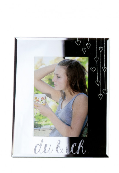 Moderner Bilderrahmen Fotorahmen 'du & ich' aus Glas Silber 10x15 cm