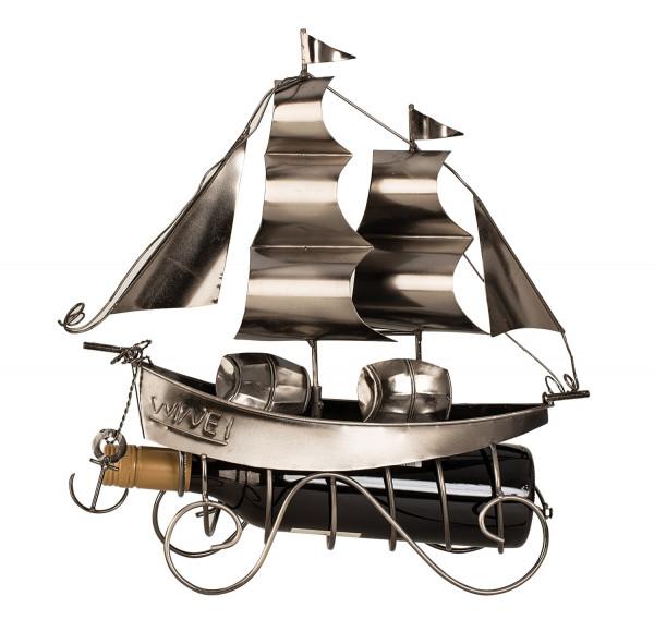 Moderner Wein Flaschenhalter Flaschenständer Segelschiff aus Metall in silber Höhe 38,5 cm